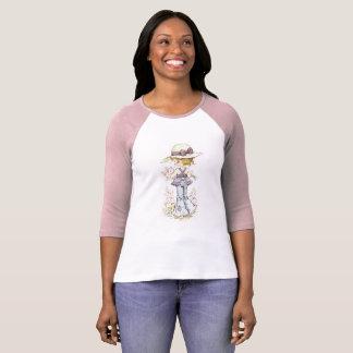 "Sarah Kay ""Camille"" Raglan ¾ Hülsen-Rosa/Weiß T-Shirt"