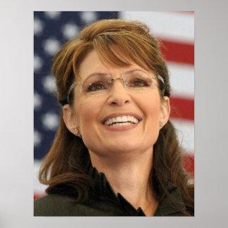 Sarah Palin, der mit Flagge lächelt Poster