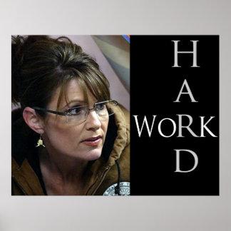 Sarah Palin und der Wert von der harten Arbeit Poster