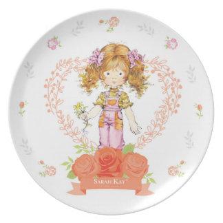 Sarahs Kay Fleur Aprikose der Porzellan-Platten-#2 Melaminteller