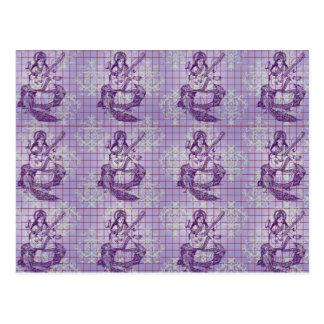 Saraswati blaue violette Pflaume lila Postkarte