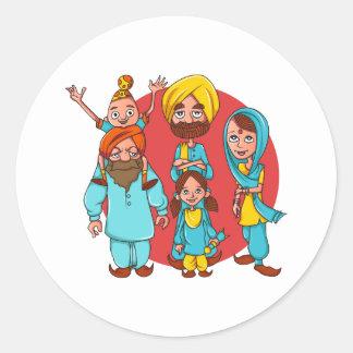 Sardar Ji und Familie! Runder Aufkleber