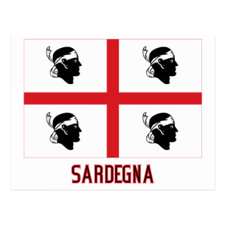 Sardegna Flagge mit Namen Postkarte