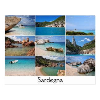 Sardinien setzt Collagentextpostkarte auf den Postkarte