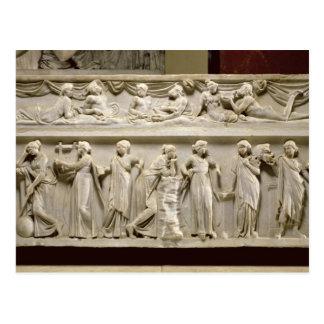Sarkophag der Musen, römisch (Marmor) Postkarte