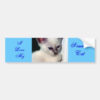 Sasha Kitten/I Liebe mein siamesischer Autoaufkleber