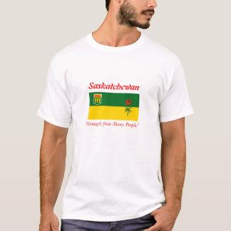 Saskatchewan-Flaggen-T - Shirt mit Motto