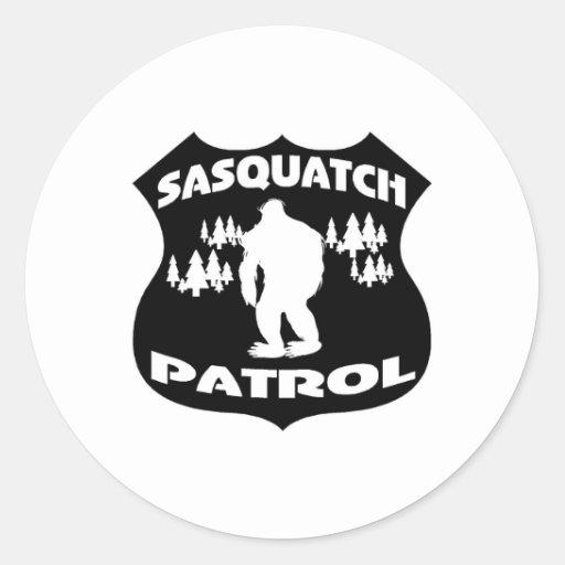 Sasquatch Patrouillen-WaldAbzeichen Runde Aufkleber