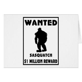 Sasquatch wollte Plakat Grußkarte