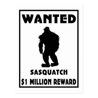 Sasquatch wollte Plakat Postkarte
