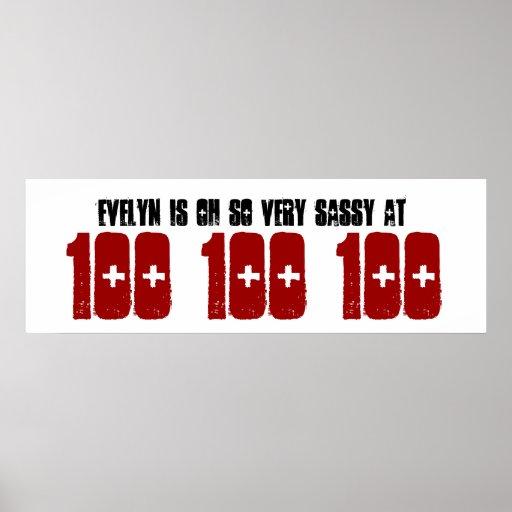Sassy 100. Geburtstags-Party-Fahnen-individueller  Plakatdrucke