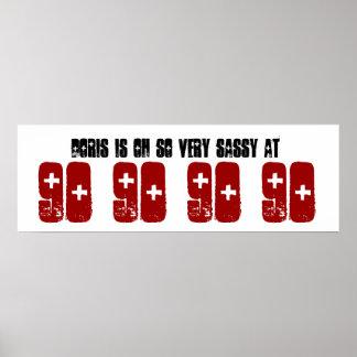 Sassy 90. Geburtstags-Party-Fahnen-individueller N Poster