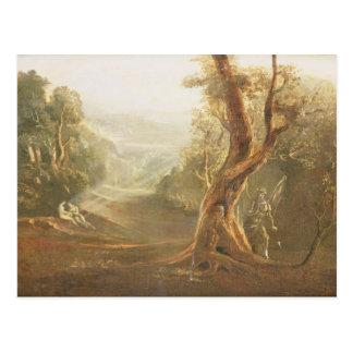 Satan, das Adam und Eve im Paradies, von erwägt Postkarte