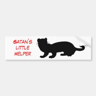 Satan´s little Helper mit Frettchenumriss Autoaufkleber