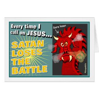 Satan verliert das Kampf-christliche Geschenk Karte