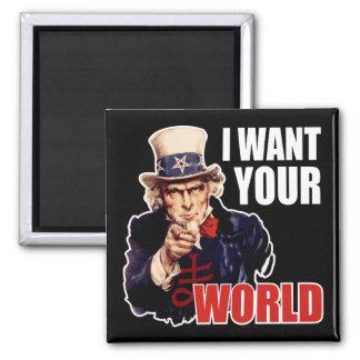 Satanischer kapitalistischer Uncle Sam Quadratischer Magnet