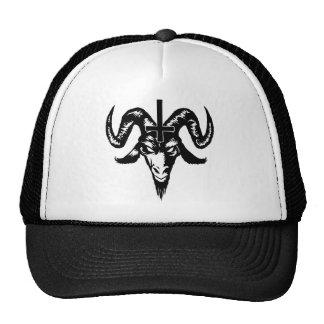Satanischer Ziegen-Kopf mit Kreuz (Schwarzes) Retrokultkappen
