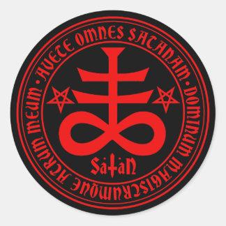 Satanisches Kreuz mit Hagel Satan Text und Runder Aufkleber