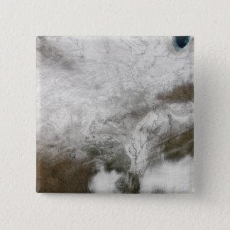 Satellitenansicht eines strengen Wintersturms Quadratischer Button 5,1 Cm