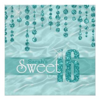 Satin-Juwel 16. Geburtstag aquamarines ID260 Poster
