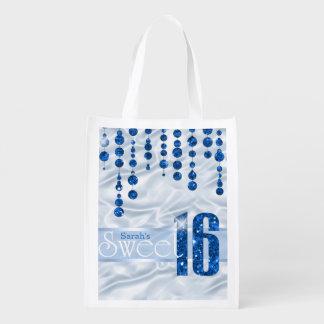 Satin-Juwel 16. Geburtstag blaues ID260 Wiederverwendbare Einkaufstasche