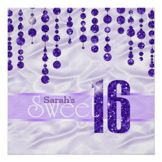 Satin-Juwel 16. Geburtstag lila ID260 Poster