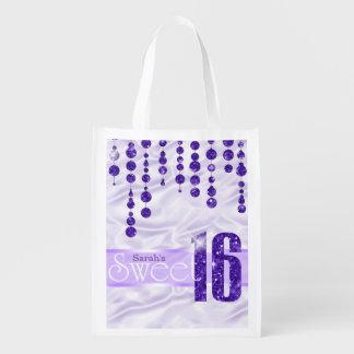Satin-Juwel 16. Geburtstag lila ID260 Wiederverwendbare Einkaufstasche