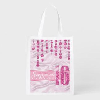 Satin-Juwel 16. Geburtstag rosa ID260 Wiederverwendbare Einkaufstasche
