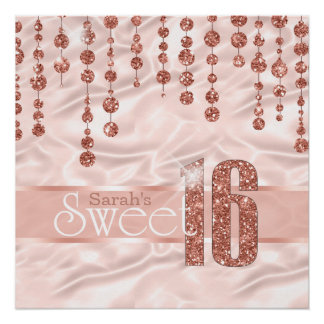 Satin-Juwel-16. Geburtstag-Rosen-Gold ID260 Poster