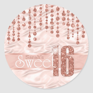Satin-Juwel-16. Geburtstag-Rosen-Gold ID260 Runder Aufkleber