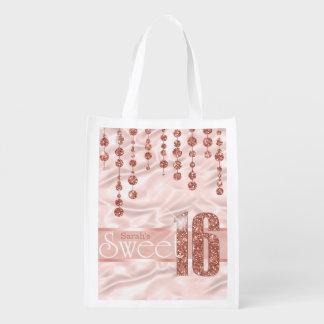 Satin-Juwel-16. Geburtstag-Rosen-Gold ID260 Wiederverwendbare Einkaufstasche