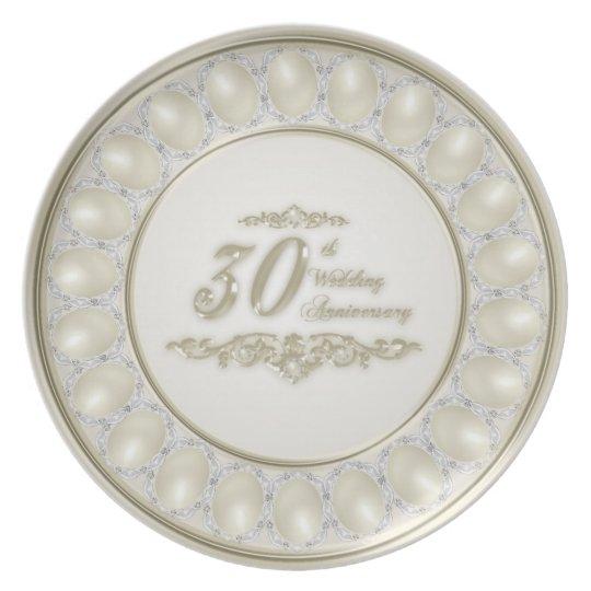 Satin-Perlen-Hochzeitstag-Melamin-Platte Melaminteller