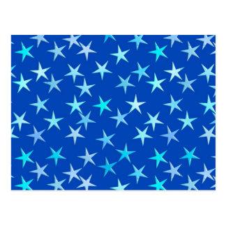Satinsterne, hellblau auf Kobalt Postkarte