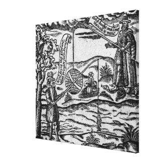 Satire des Fischens, 'Buch Roxburghe Balladen Galerie Gefaltete Leinwand