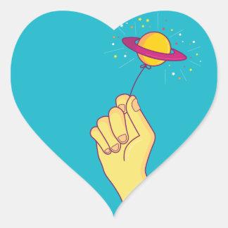 Saturn-Lutscher-Ballon Herz-Aufkleber