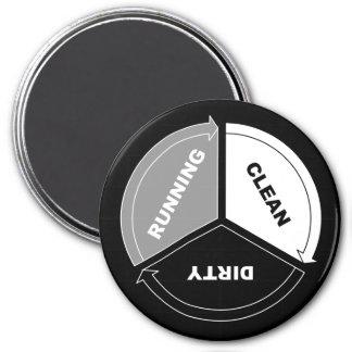 Sauber-Schmutzig-Laufen lassenspülmaschinenmagnet Runder Magnet 7,6 Cm