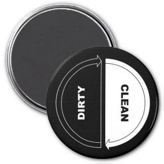 Sauber-Schmutziger Spülmaschinenmagnet (auf Runder Magnet 7,6 Cm