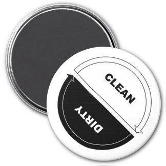 Sauber-Schmutziger Spülmaschinenmagnet (auf Weiß) Runder Magnet 7,6 Cm