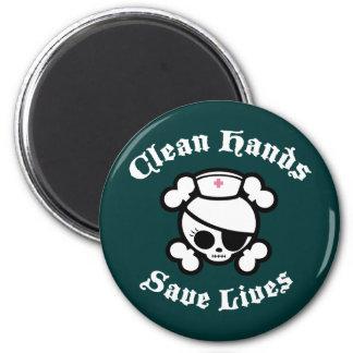 Saubere Hände retten die Leben Runder Magnet 5,7 Cm