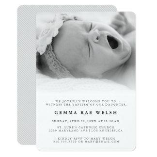 Saubere u. klassische Foto-Taufe-Einladung 12,7 X 17,8 Cm Einladungskarte