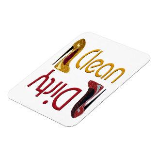 Sauberer, schmutziger Spülmaschinen-Magnet mit Sti Eckiger Magnet