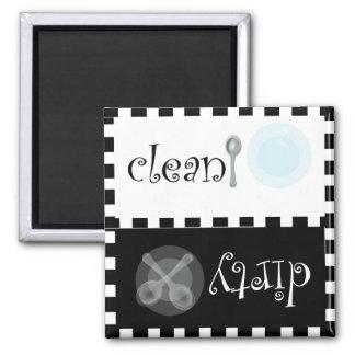 Sauberer und schmutziger Spülmaschinen-Magnet Quadratischer Magnet