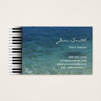 Säubern Sie blauen Meerwasser-Musik-Klavier-Lehrer Visitenkarten