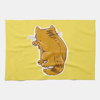 säubern Sie den Kitty, der lustigen Cartoon der Geschirrtuch