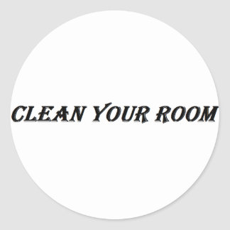 säubern Sie Ihren Raum Runder Aufkleber