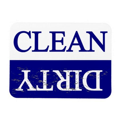 Säubern Sie schmutzige blaue Spülmaschine Vinyl Magnete