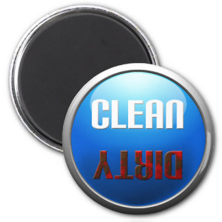 Säubern Sie schmutzige Spülmaschine Runder Magnet 5,7 Cm