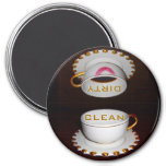 Säubern Sie schmutzige Spülmaschinen-Küche Runder Magnet 7,6 Cm