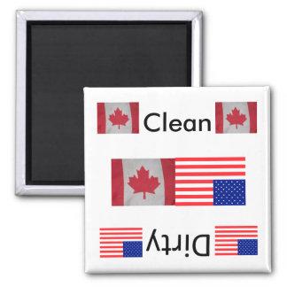 Säubern Sie schmutzige Spülmaschinen-Magneten Flag