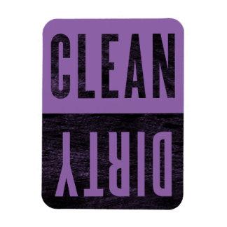 Säubern Sie | schmutzigen lila Eckiger Magnet